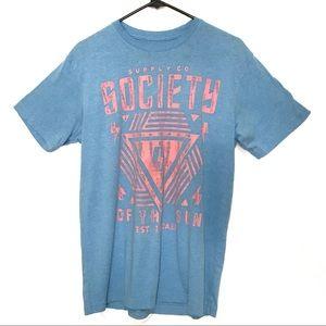 Society Tee Shirt BUCKLE Light Blue Pink Medium